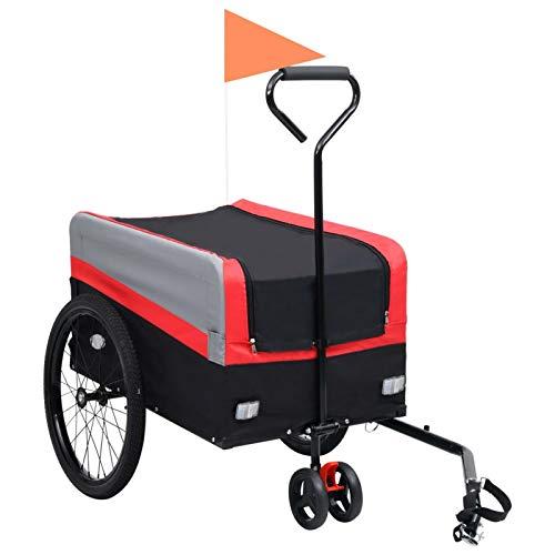 pedkit Remolque y Carrito de Bicicleta XXL 2 en 1 Rojo Remolque de Bicicleta Gris y Negro