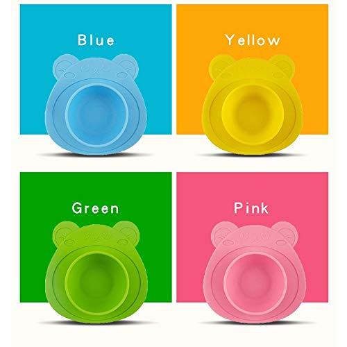 Plato de Silicona Antideslizante con Ventosa para Bebé - libre de BPA - Alimentación BLW - Forma de Osito (Azul)