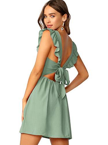 Romwe Women's Cute Tie Back Ruffle Strap A Line Fit and Flare Flowy Short Dress Green S