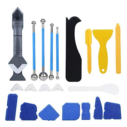 Caulk Tool Kit, 22Pcs/Set Plastic Sealant Spreader Glass Glue Caulking Scraper Sewing Beautify Tool Kit, Caulk Removal Tool, for Molding Grouting Resin