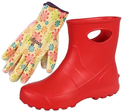 Ensemble - bottes de pluie rouges et gants de jardin colorés 38 EU
