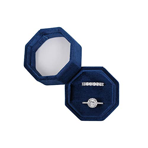 BLUTETE Velvet Jewelry Ring Box Engagement Wedding Box Keepsake Box Bridal Photo Ring Double Slots Octagon (Navy)