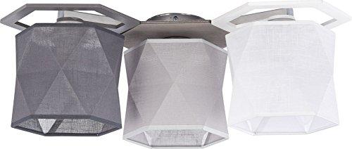 Deckenlampe Holz B 30cm L 55cm Stoffschirm Weiß Hell Grau Dunkelgrau 3-flammig Flurlampe Deckenleuchte Beleuchtung Wohnzimmer