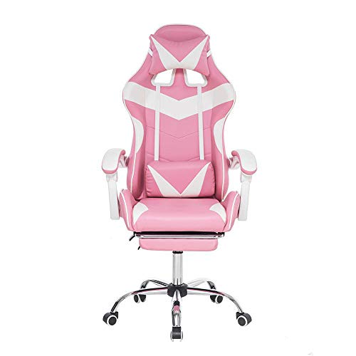 Gaming Chair Bureaustoel Computerstoel Leer Executive Ergonomische Verstelbare Draaistoel met Voetsteun-Roze