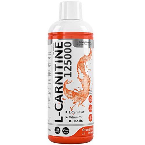Kevin Levrone L-Carnitine 125000 Package of 1 x 1000ml – Carnitine with Vitamins - Fat Burner – Vitamin B6 - Pantothenic Acid – Riboflavin – Thiamine – Slimming (Orange)