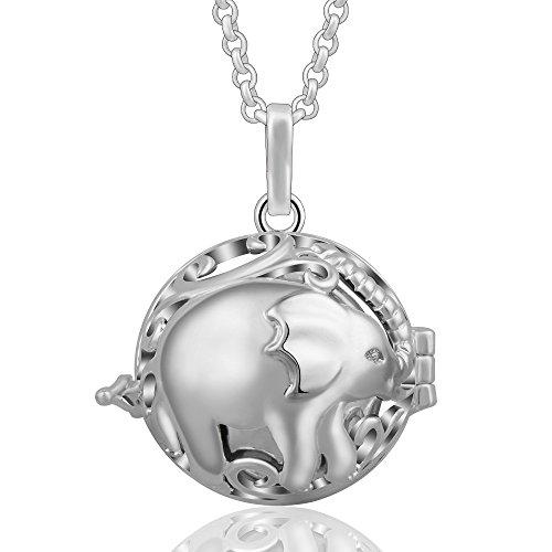Eudora Harmony Ball Colgantes Lindo Elefante Mujer Llamador de Angeles Embarazada, Collar de Elefante Afortunado de plata Carillón Música Cadena con Colgante de Bola Relicarios de la Campana d
