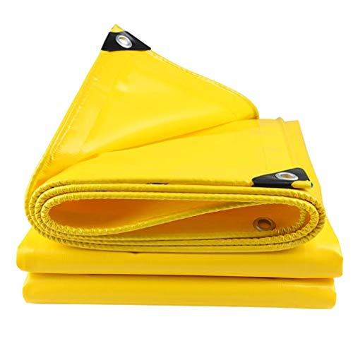 Planengarten wasserdicht 3mx3m / 10ftx10ft Mehrzweckplane Hochleistungs-wasserdichte PVC-laminierte, UV-geschützte, gelbe Grundplane mit verstärkten Kanten und Ösen, 550GSM...