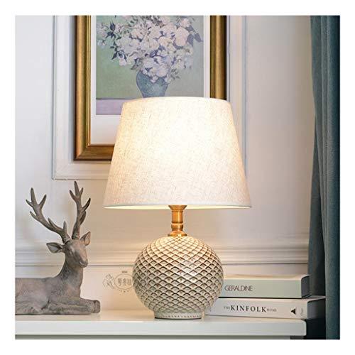 Klassik Tischlampe Moderne Tischlampe Keramik Nachttischlampen Dimming Nachtlampen mit Stoffschirm Nachttischlampen for Schlafzimmer Lesen Lamp (Color : White)
