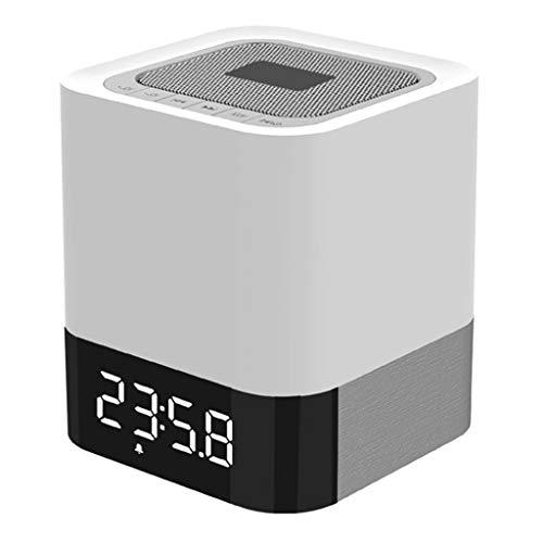 Luz nocturna altavoz Bluetooth, reloj despertador, altavoz inalámbrico Bluetooth, reproductor de MP3, control táctil, regulable, lámpara de mesita de noche, luz de noche, unidad flash USB/soporte