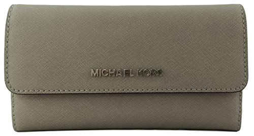 """Measures approximately Width: 7.25"""" Height: 4"""" Depth: 1"""". Flap style snap closure on the front and zippered accordion pocket on the back. Polished hardware """"MICHAEL KORS"""" in block letters on center of front flap. Interior: 4 unfolded bill sleeves, 1 ..."""
