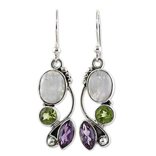 BULABULA Pendientes vintage Moonstone multicolor, bohemio, peridoto, amatista, arcoíris, natural, glamurosos, pendientes colgantes