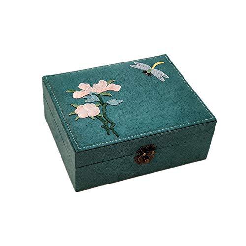 eLy Chinesische Doppelschicht-Schmuckschatulle, Aufbewahrungsschachtel aus Holz, traditionelle Stickerei, großzügig und elegant, geeignet für Schminktische, dunkelgrün