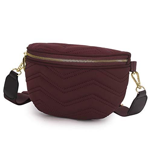 Wind Took Umhängetasche Damen Bauchtasche Gürteltasche Kleine Tasche Schultertasche Mode Brusttasche Sporttasche für Party Reise Outdoor, Rot