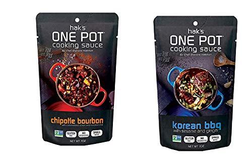 Hak's One Pot Cooking Sauces - Korean BBQ & Chipotle Bourbon ~ 6 pouches