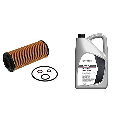 febi bilstein 26704 Ölfilter mit Dichtringen , 1 Stück & Amazon Basics – Motorenöl 5W-30 Typ F, 5 l