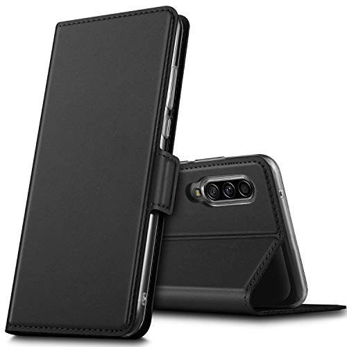 GEEMAI für Samsung Galaxy A90 5G Hülle, handyhüllen Flip Hülle Wallet Stylish mit Standfunktion & Magnetisch PU Tasche Schutzhülle passt für Samsung Galaxy A90 5G Smartphone, Schwarz
