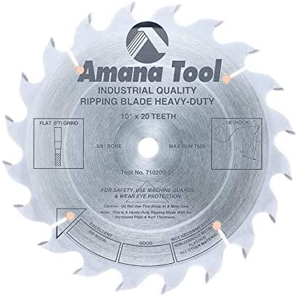 """new arrival Amana Tool - popular 710200 Carbide Tipped Heavy-Duty Ripping 10"""" Dia outlet sale x 20T', 18 Deg, 5/8 BO outlet sale"""
