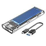 ORICO Carcasa SSD M.2 SATA Externo Caja USB 3.1 Gen1 5 Gbps Disco Duro Adaptador para M2 SATA B-Key 2230/2242/2260/2280 SSD, Sin Herramientas y Smart Sleep, no para NVME SSD-TCM2F Azul