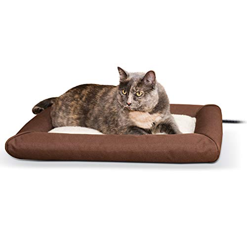 K&H Pet Products Deluxe Lectro-Soft Outdoor Heated Bed Chocolate/Tan Small 19.5 X 23 Inches