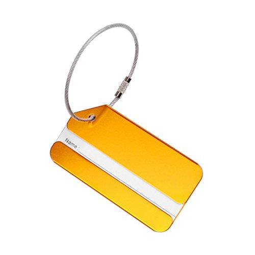 LAIYYI 1 STKS Bagage Tags voor koffer Duurzame Legering Reizen Bagage Riemen Koffer Naam ID Label Hangslot voor Bagage ORANJE