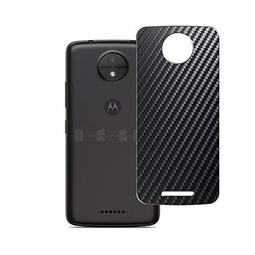 Vaxson 2 Unidades Protector de pantalla Posterior, compatible con Motorola Moto C, Película Protectora Espalda Skin Cover - Fibra de Carbono Negro