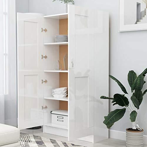 WooDlan Armario de Libros |Aparador Salon Mueble | Librerías de salón | Armario de Almacenamiento |Armarios de salón Aglomerado Blanco Brillante,82,5x30,5x150 cm