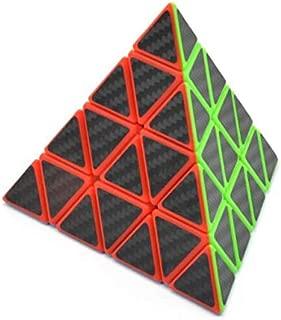 CuberSpeed Phantom Pyraminx 4x4 stickerless with Black Carbon Fiber Stickers Magic Cube Master Pyraminx Carbon Fiber Sticker Twisty Puzzle