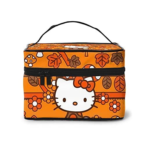 Hello Kitty - Bolsa de cosméticos para mujer con cremallera multifunción (22,8 x 17 x 15,7 cm), portátil de gran capacidad