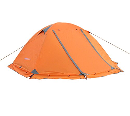 WoneNice Professional Camping Tent, 2/3 Person Family Double Layer Waterproof 4 Season Outdoor Dome Tent with Removable Rain Fly (Orange)