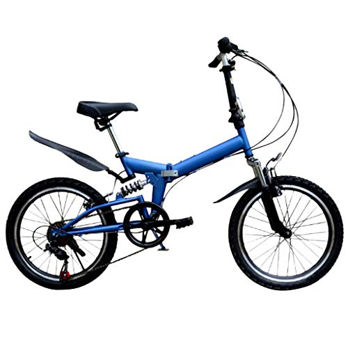 Nesee 20 Inch Folding Bike - Lightweight Portable Small Mountain Bikes - Disc Brake Variable Speed Damping Road Bikes for Student Adult Mens Womens (Blue)