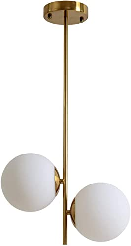 Nordic Glass Ball Round Chandelier LED Suspension Luminaire Intérieur Luminaire Décoratif pour Salon Chambre-or-2heads