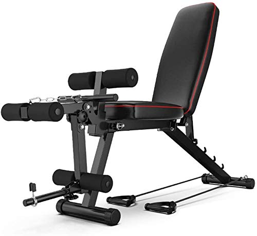 Lloow Multi-function Weight Bench, Workout Bench with Leg Extension and Leg Curl, Sit Up Incline Abs Bench, Home Gym Adjustable Fitness Bench Black Bancos ajustables