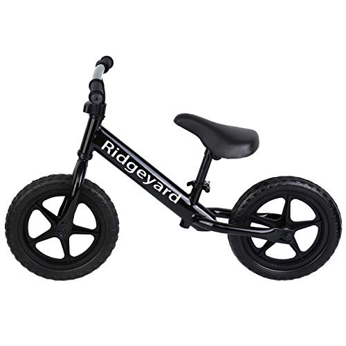 MuGuang 12 Inches Kids Balance Bike, Adjustable Handlebar and Seat Height No Pedal Walking Balancing Bicycle for Age 2-5 Toddlers(Schwarz)