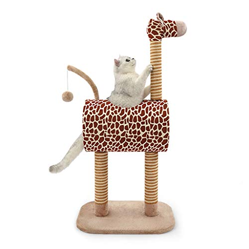 Árbol para Gato Torre de gato de árbol de gato de jirafa, gato rasguñando el condominio, la actividad de la gatita de peluche con las publicaciones de rasguño Casa de Pey Play, Cat Scratch Post Toys T