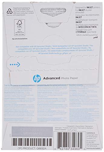 HP Advanced Glossy Photo Paper, Q8692A, 100 hojas de papel fotográfico satinado avanzado, compatible con impresoras de inyección de tinta, 10 x 15 cm, peso del material de impresión 250 g/m²