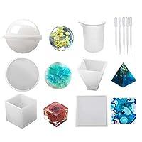 jokeWENシリコーン金型球、立方体、ピラミッド、正方形、丸型、1個の計量カップ、および樹脂エポキシ、キャンドルワックス、石鹸、ボウルマット用の5つのプラスチックトランスファーピペットを含むシリコーン樹脂金型