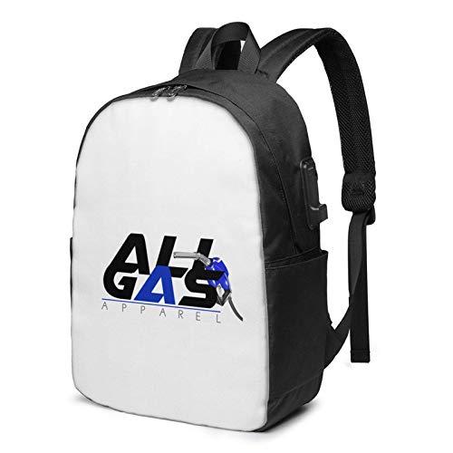 IUBBKI Bolsa para computadora mochila USB All_Gas_Logo 17 Inch Laptop Backpack For Men & Women,Travel/School Backpack With Usb Charging Port & Headphone Interface