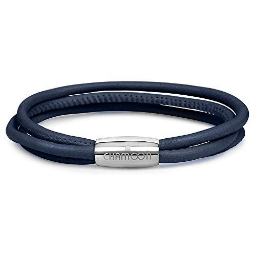 CHAMOON ® Premium Echtlederarmband für Damen in Blau   Länge 19,00 cm   Praktischer Magnetverschluss aus Edelstahl   Wickelarmband mit Charms erweiterbar