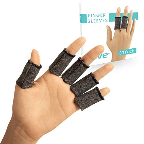 Vive Finger Sleeve Protectors (30 Pack) - Thumb Support Brace for Gaming, Guitar Players - For Trigger Finger Joint, Arthritis, Wounds, Sport Injury and Joint Pain - Fabric Guard for Pinky and Index