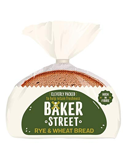 2 Pack 8 Slices Baker Street Sliced Rye & Wheat Bread Slices Low Fat