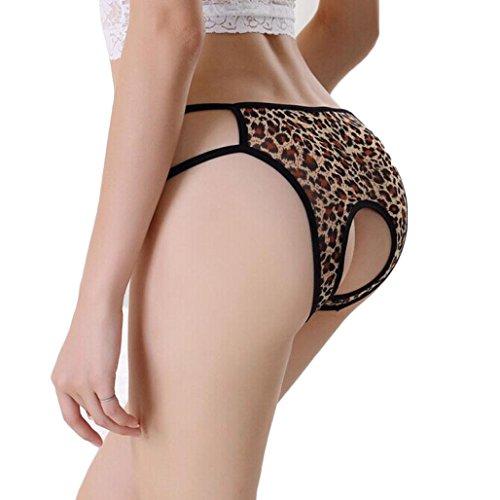 TONSEE® Femmes Sexy Crotchless G-String Slips Lingerie Culotte Culotte sous-vêtements (Jaune)