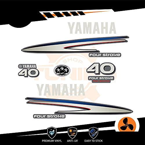 Generico Kit Adesivi Motore Marino Fuoribordo Yamaha 40 CV - Four Stroke F40 Silver