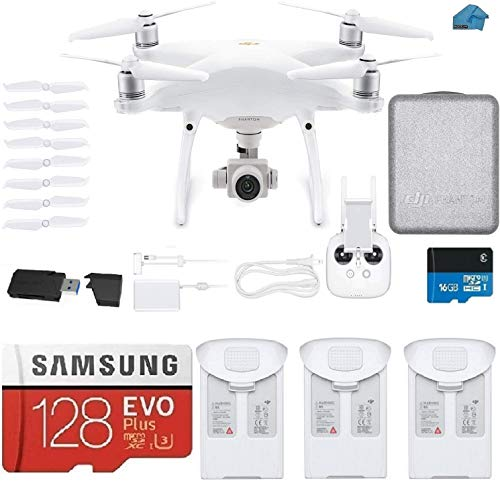 DJI Phantom 4 PRO V2.0 Quadcopter Drone with 1-inch 20MP 4K Camera KIT, 3 Total DJI Batteries, 128 gb Micro SDXC Card, Reader Must Have Bundle