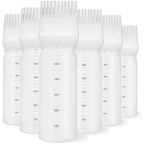 ONLYFU 4 Pcs Root Comb Applicator Bottle, 6 Oz Hair Dye Applicator Bottle with Comb and Scale Plastic Hair Oil Applicator Bottle for Hair Dye and Hair Care (4 Pcs)