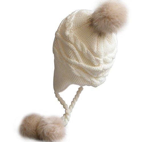 Butterme Bébé Toddler Chaud Earflap Bonnets Bonnet Pom Pom Doublé Cap Hiver