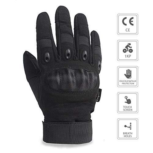 Unigear Taktische Handschuhe mit Klettverschluss Motorrad Handschuhe Army Gloves Sporthandschuhe geeignet für Motorräder Skifahren, Militär, Airsoft (Schwarz-Voll, XL) - 4