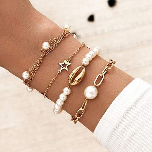 Xpccj Bracelets Punk Gothic Imitation Pearls Lock Bracelets Female Knot Flower Bracelet Bangles for Women Fashion Gold Coin Jewelry Ladies bracelet (Metal Color : Star Pearl)