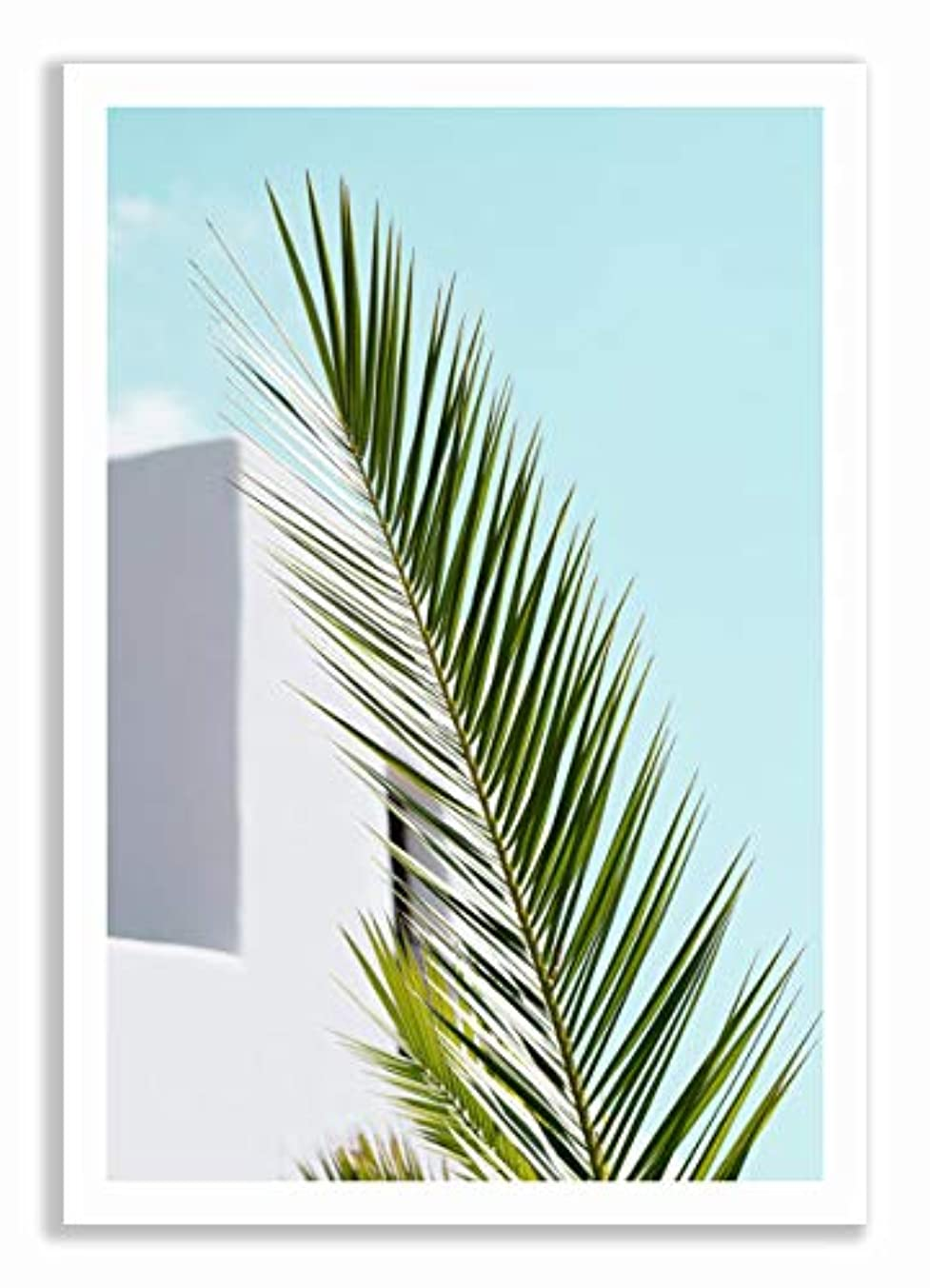 Palm Leaf and Blue Sky, White Lacquered Wood Frame, with Mount, Multicolored, 30x40