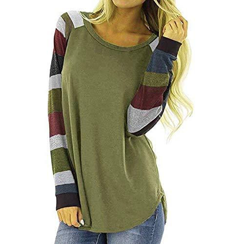 Alessioy Sudadera de rayas para mujer, cuello redondo, suéter de punto de manga larga, básica, moda de vida de retazos blusa larga asimétrica Tops de moda vintage Tops