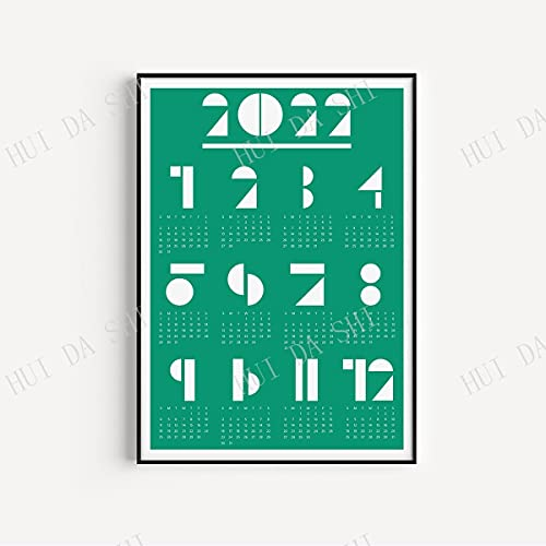 Xushiwanju 2022 Calendar Neutral Calendar Minimalist Calendar Geometric Calendar Wall Calendar Poster To-do lists (Color : Light Grey, Size (Inch) : 21X30CM CANVAS)